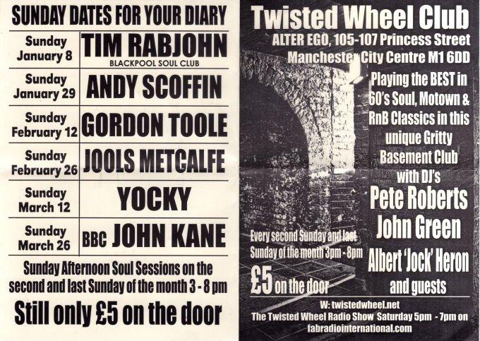 Twisted Wheel Club  Alter Ego Sunday Soul flyer