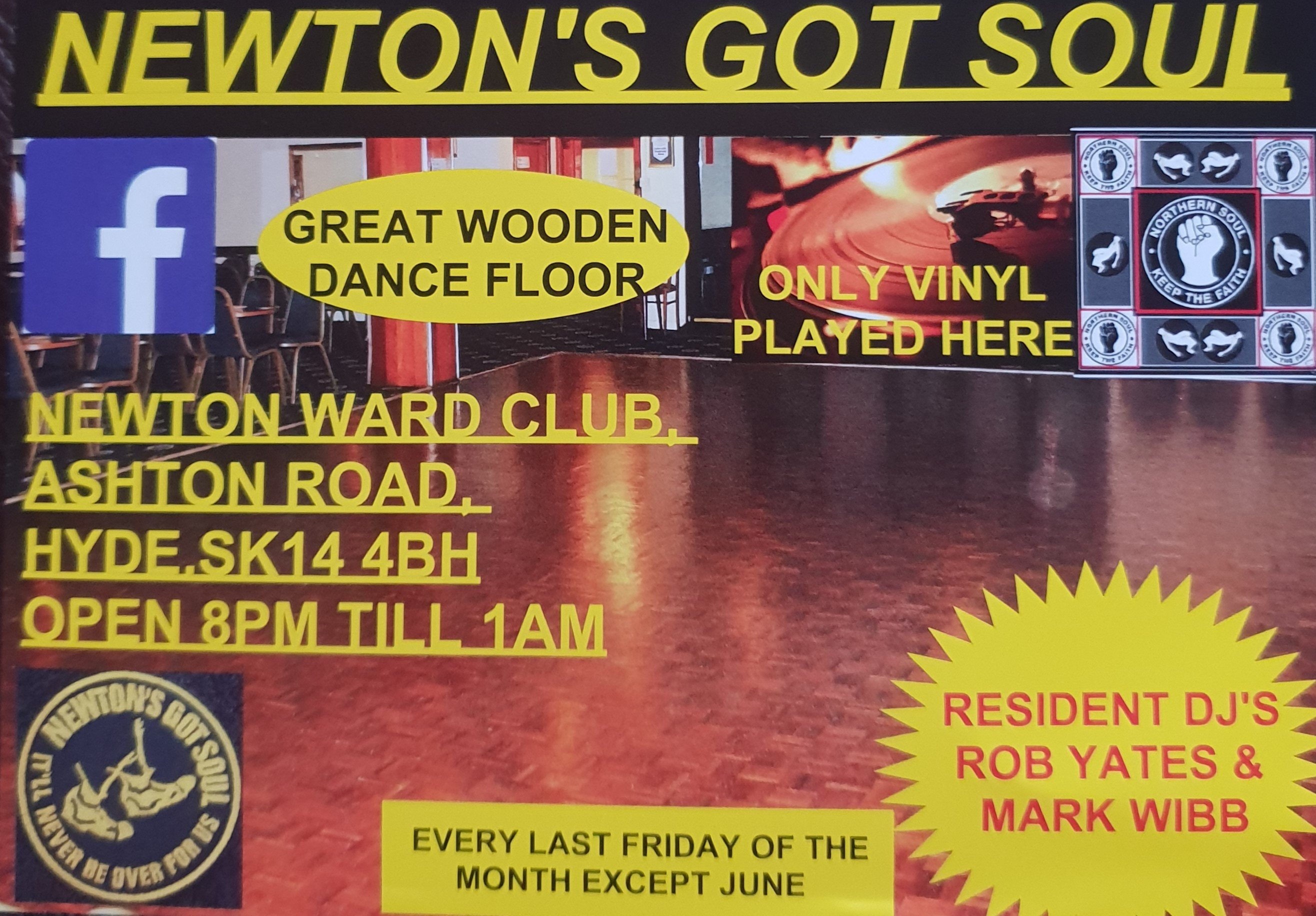 Newtons Got Souls Monthly Northern Soul Night flyer