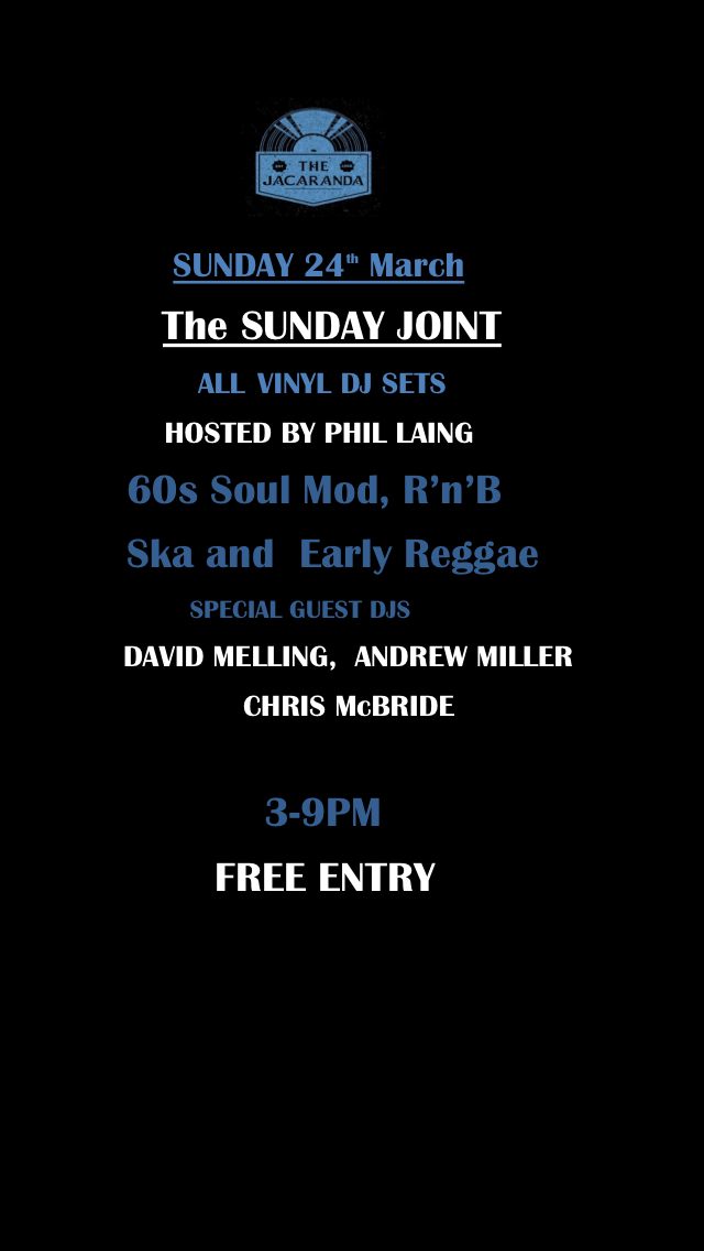 Sunday Joint  The Jacaranda flyer