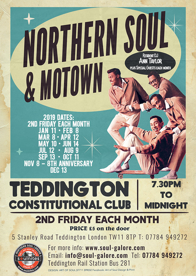 Teddington Fridays Northern Soul  Rare Motown June flyer