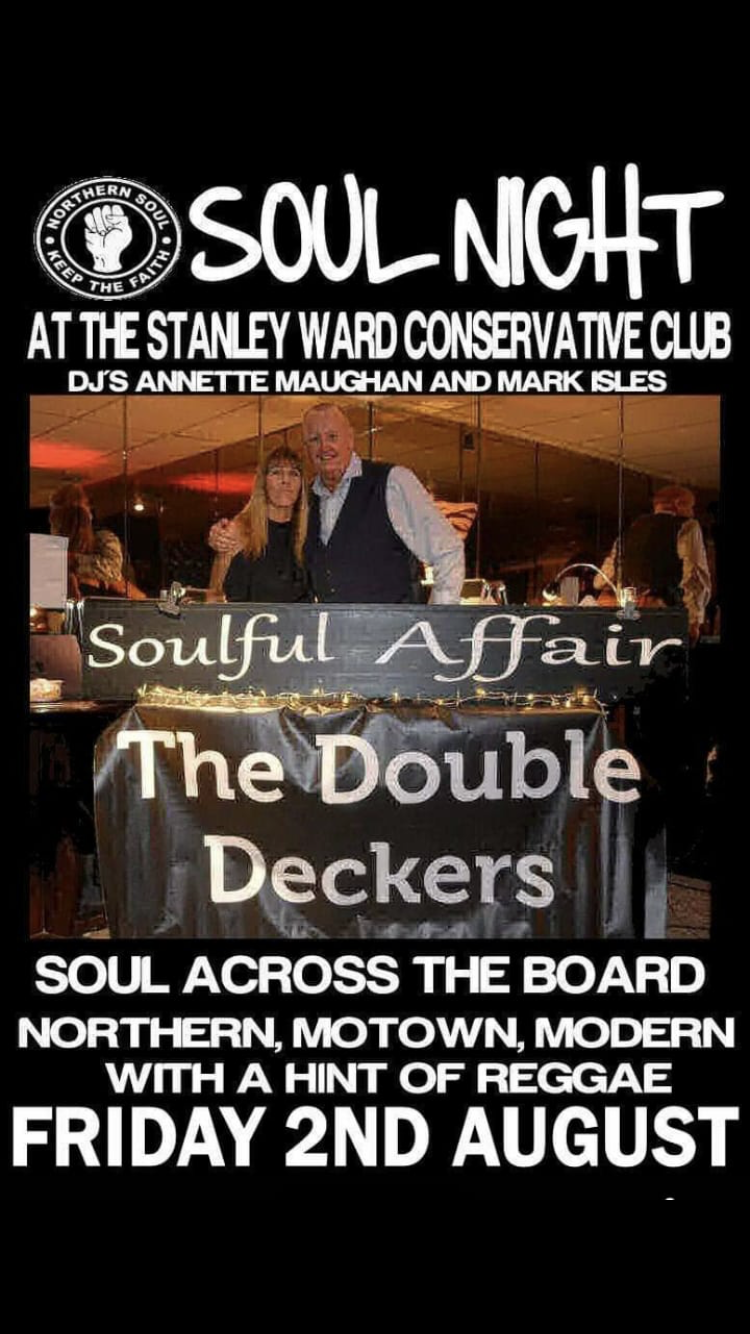 Soul Night At The Stanley Ward Con Club Blackpool flyer