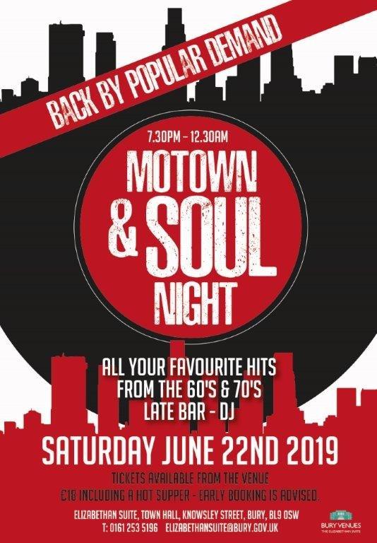Motown  Soul Night Bury Town Hall flyer