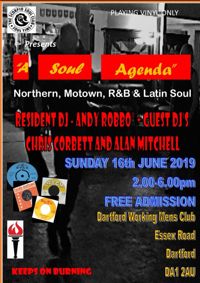 The Scorpio Soul Club Presents  A Soul Agenda flyer