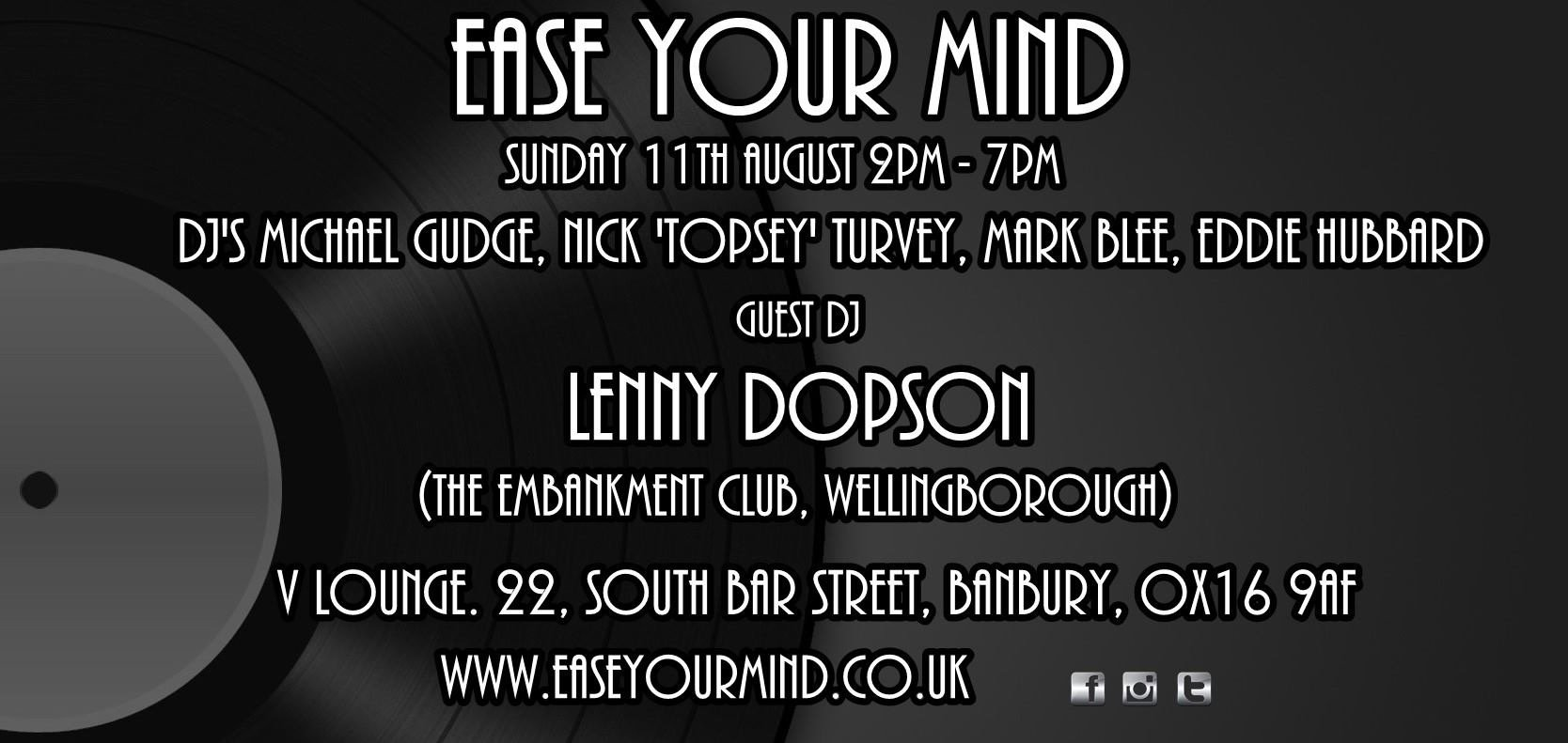 Ease Your Mind With Lenny Dopson At V Lounge Banbury flyer