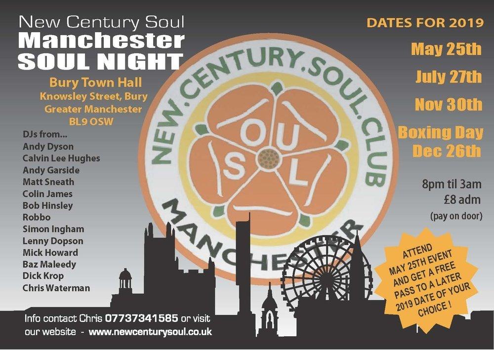 New Century Soul Club Bury Town Hall Big Soul Night flyer