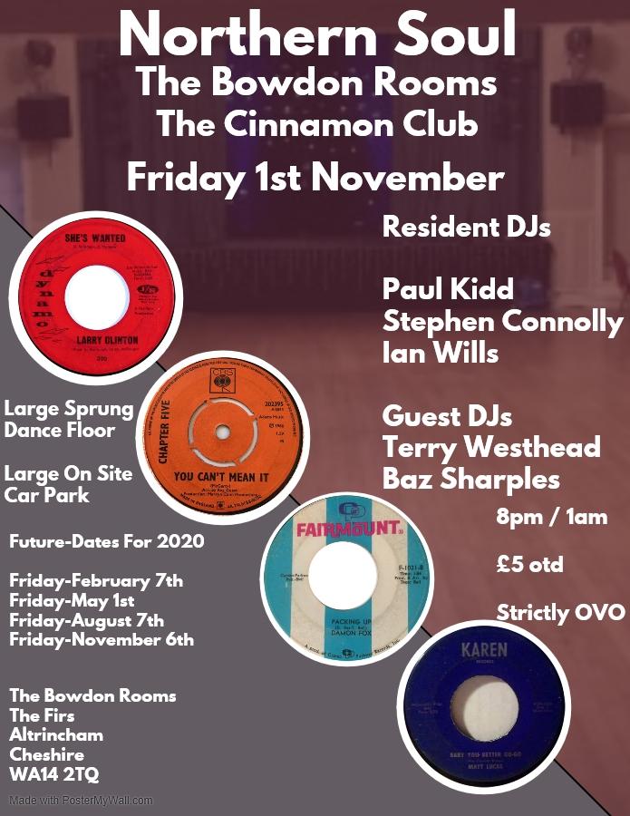 Northern Soul The Bowdon Rooms Cinnamon Club flyer