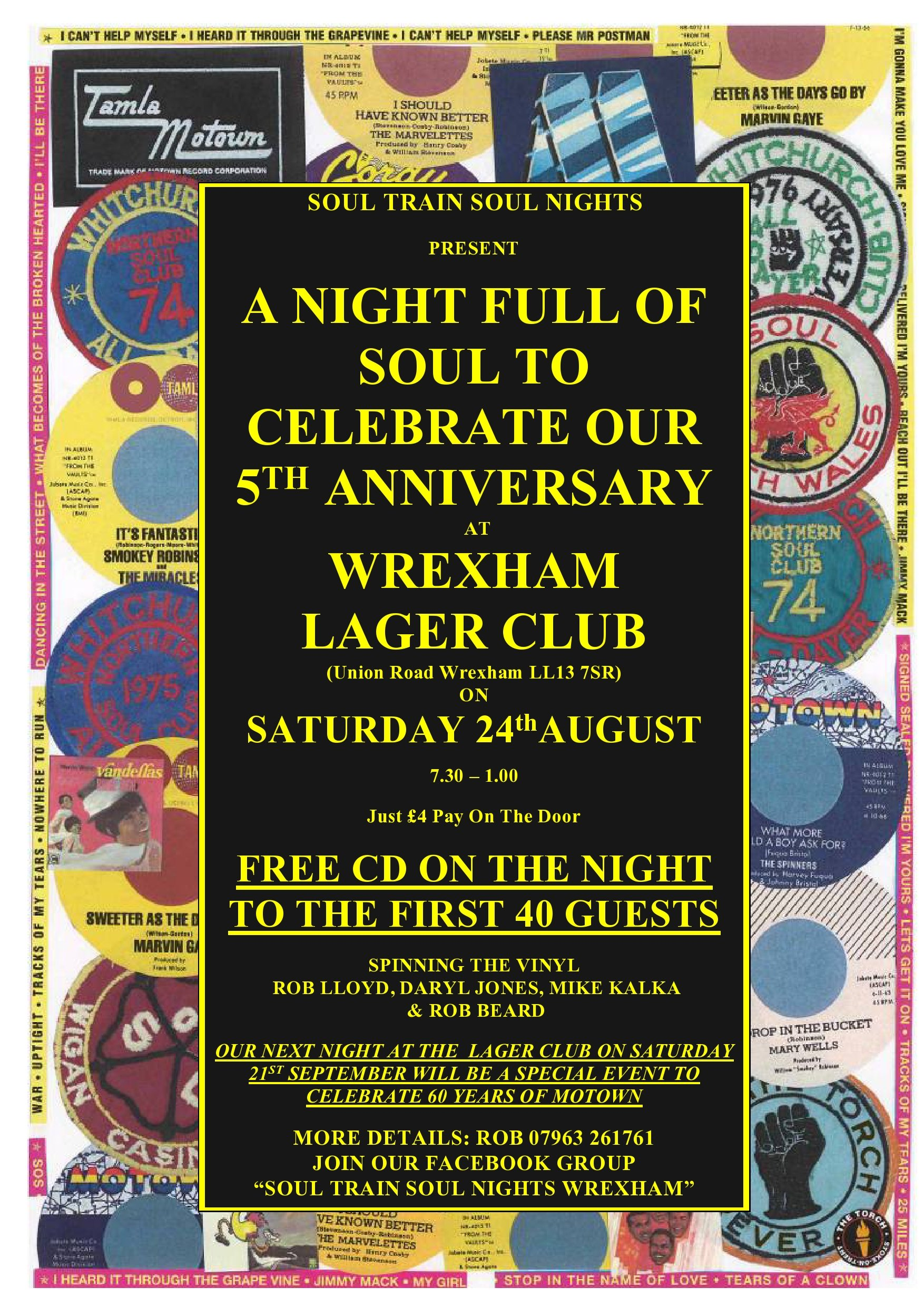 Wrexham  Lager Club  Northern Soul Motown  Club Classic flyer