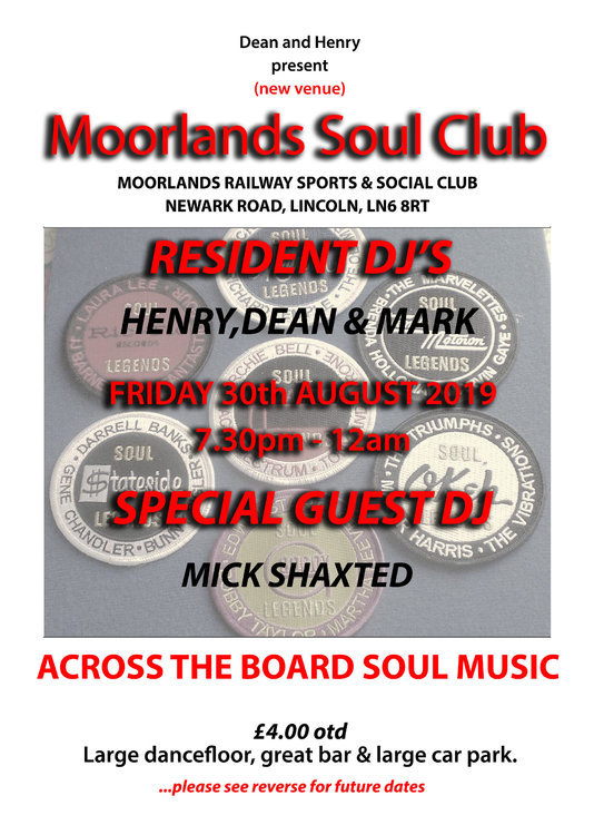 Moorlands Soul Night Lincoln flyer