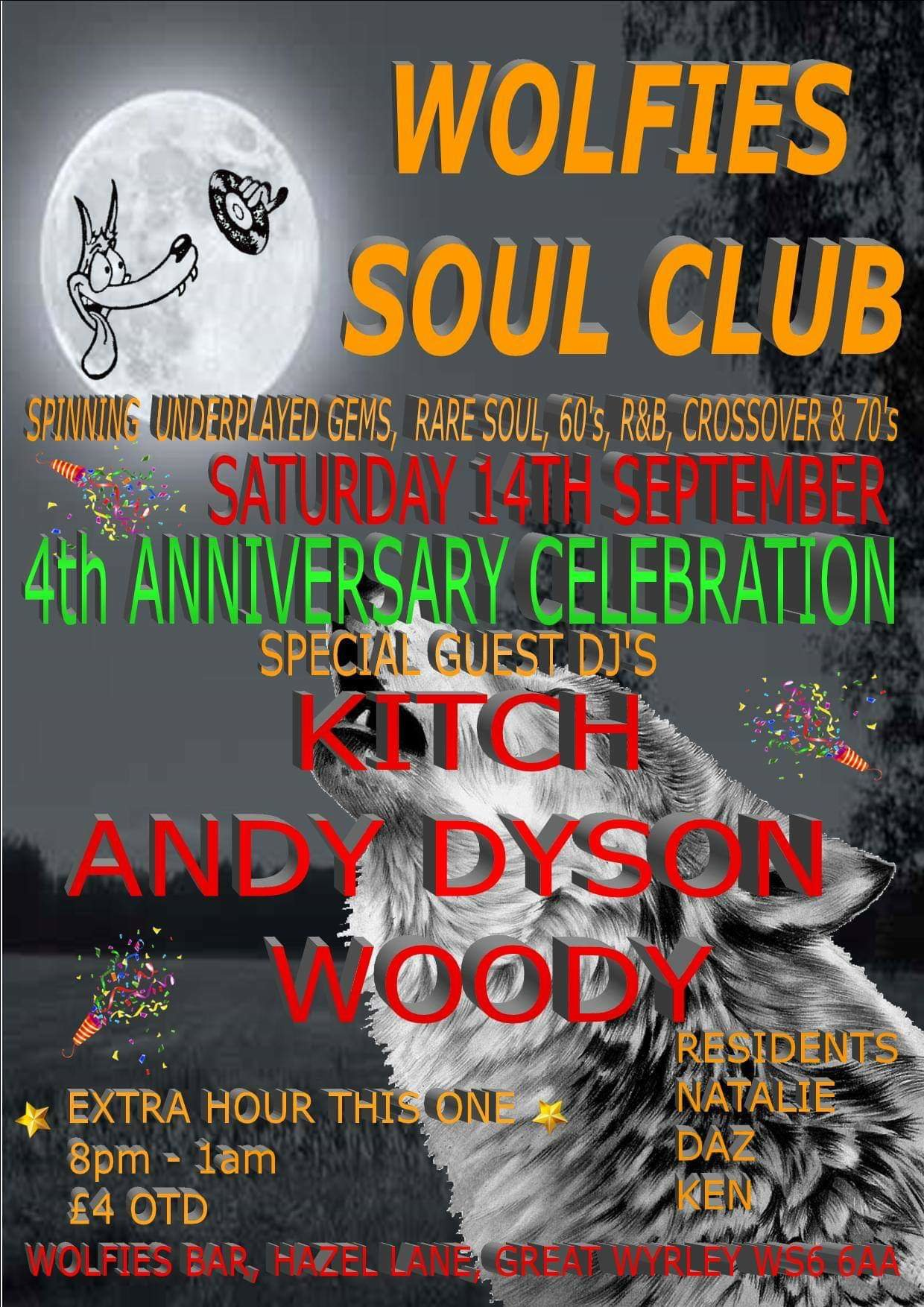Wolfies Soul Club 4th Anniversary Kitch Andy Dyson Woody flyer