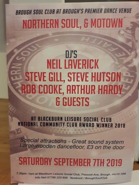 Brough Soul Club Cancelled  flyer