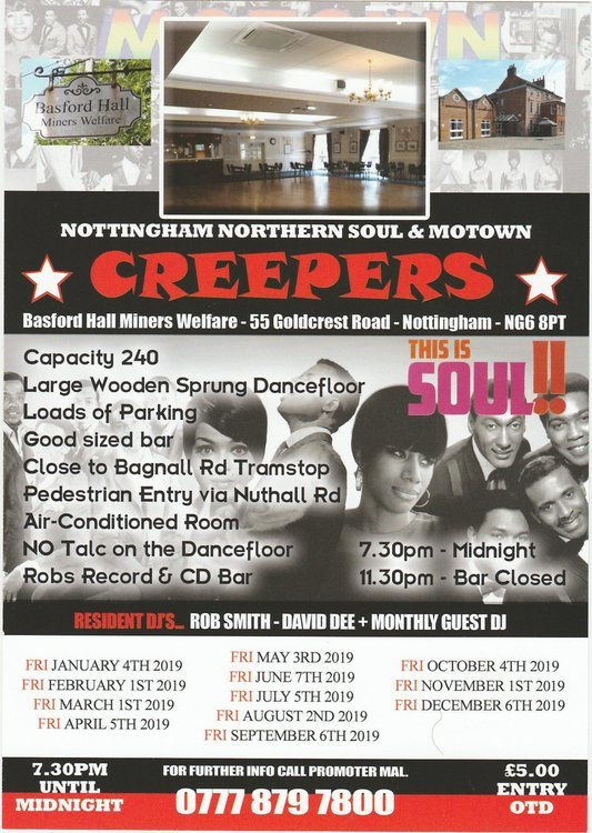 Nottingham Northern Soul  Motown Creepers Basford Hall  flyer