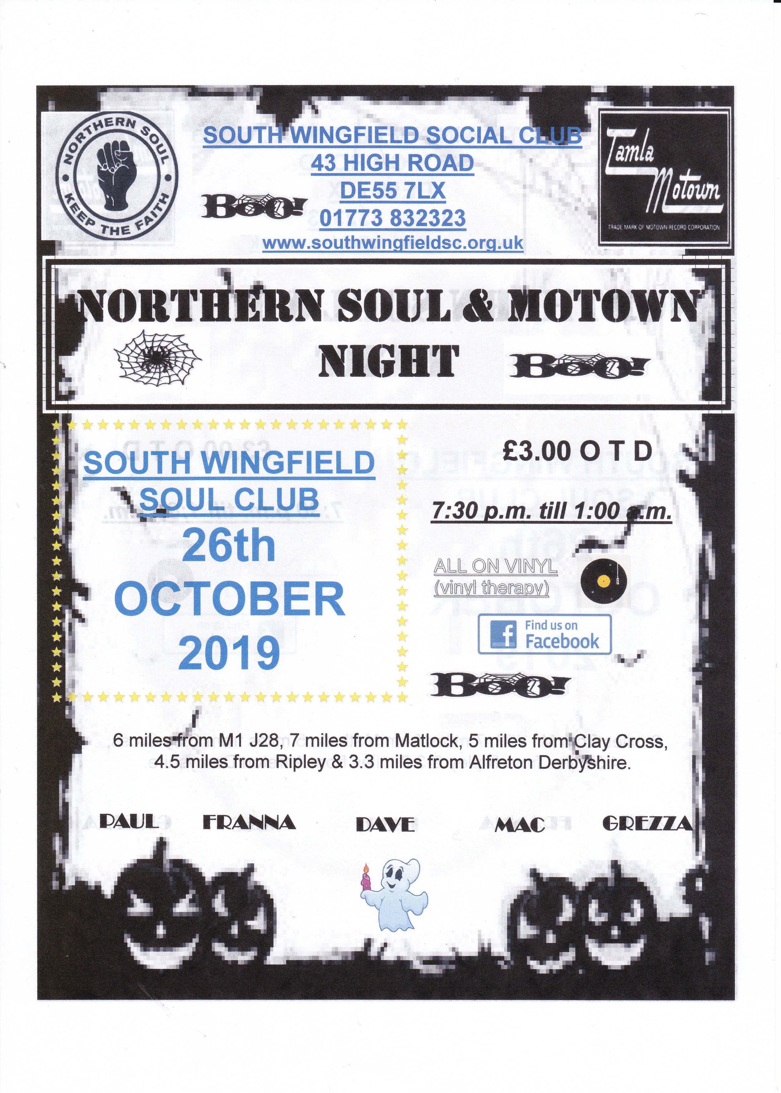 South Wingfield Northern  Soul  Motown Night flyer