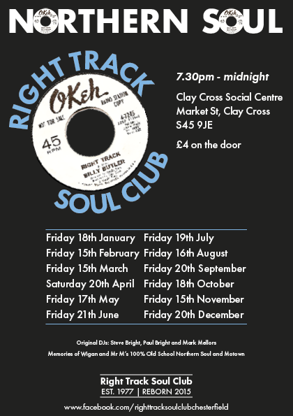 Right Track Soul Club  Chesterfield flyer