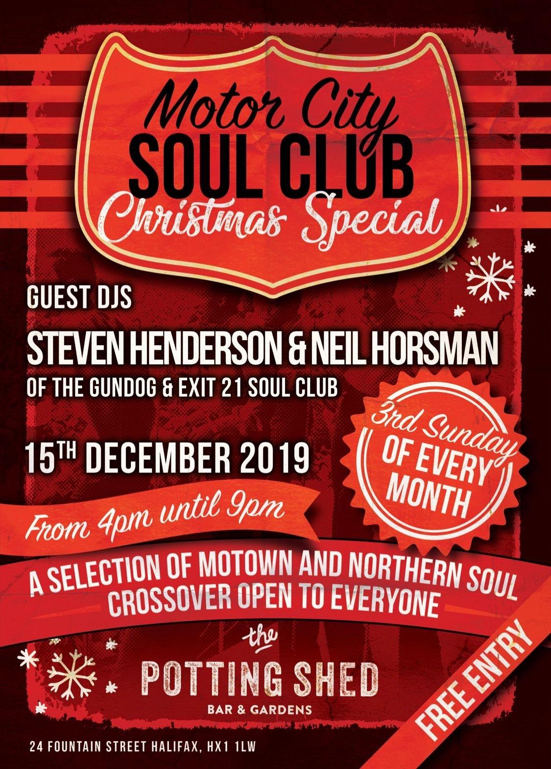 Motor City Soul Club  5th Birthday And Xmas Do flyer