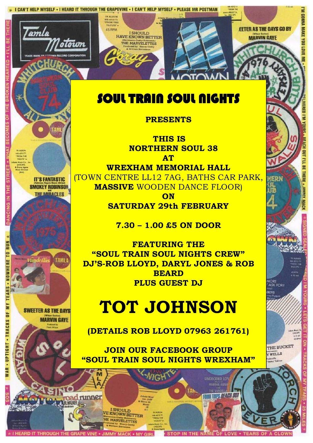 Wrexham Memo  Tot Johnson  Guest Dj flyer