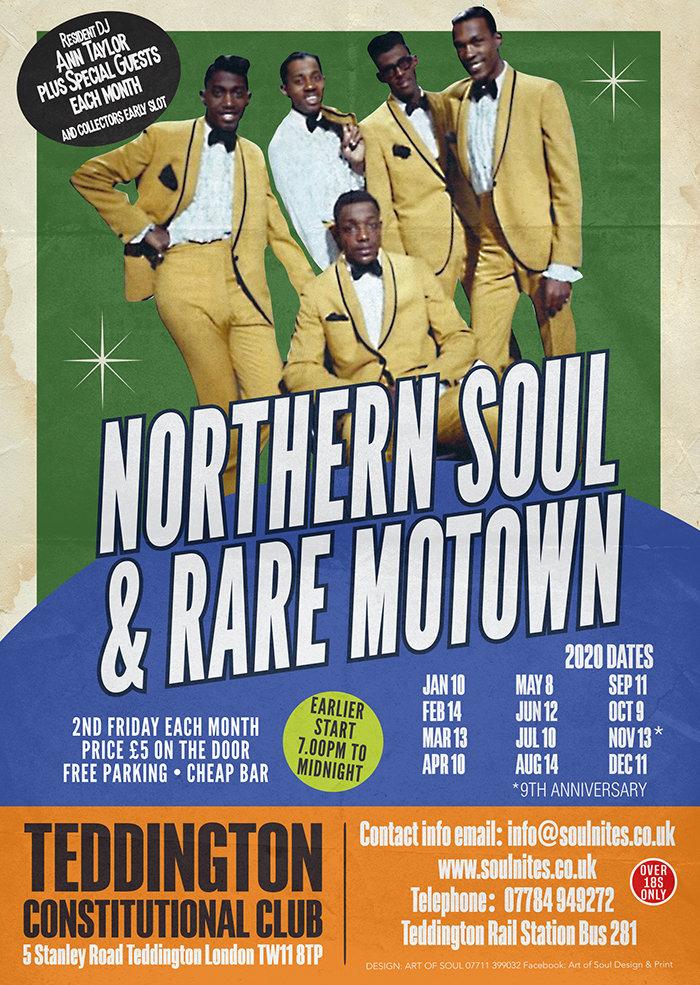 Teddington Fridays Northern Soul  Rare Motown January flyer