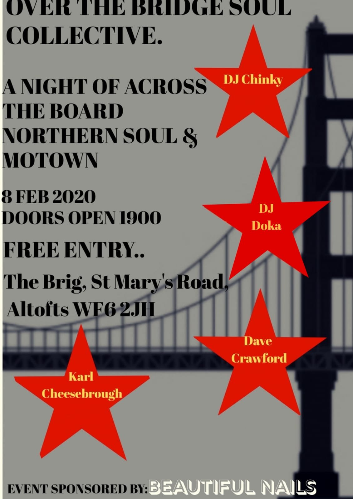 Over The Bridge Soul Collective Charity Soul Night flyer