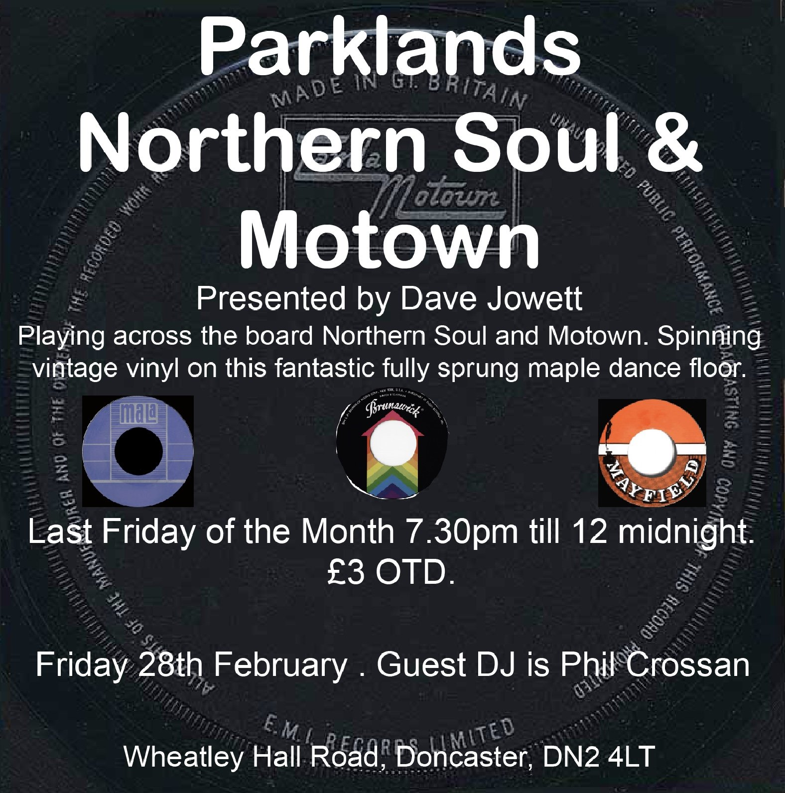 Parklands Northern Soul And Motown Night flyer