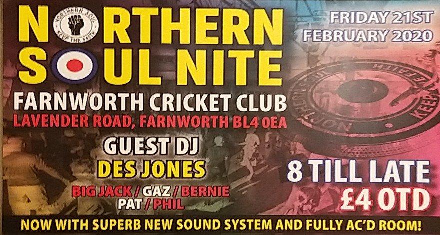 Farnworth Cricket Club Northern Soul Nite flyer