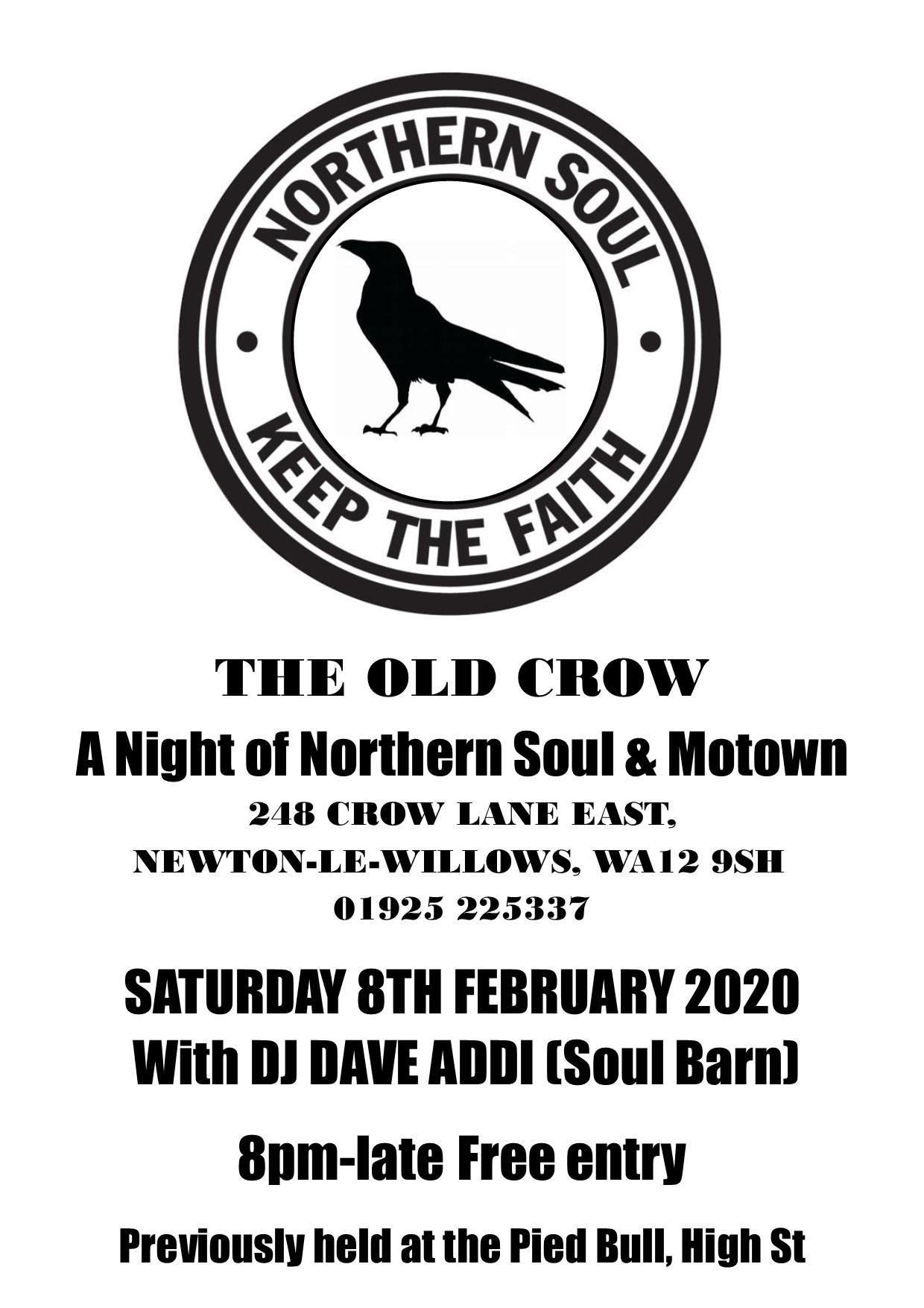 Old Crow Soul Free Entry Newton Le Willows Nr Warrington flyer