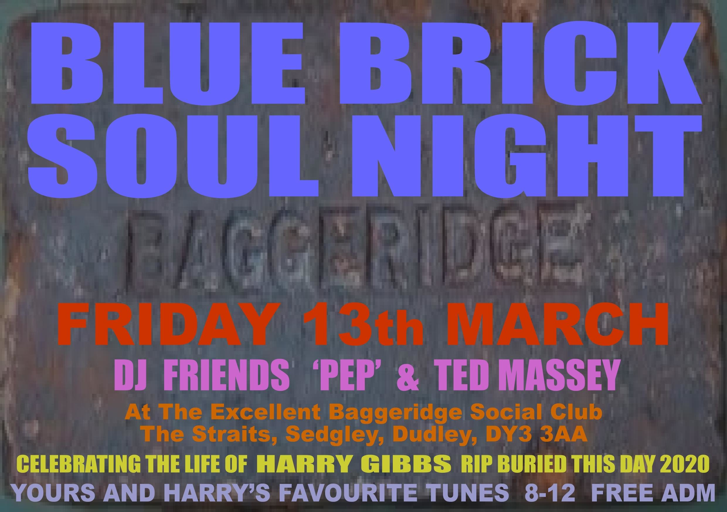 Blue Brick Harry Gibbs Rip Special Free Admission flyer