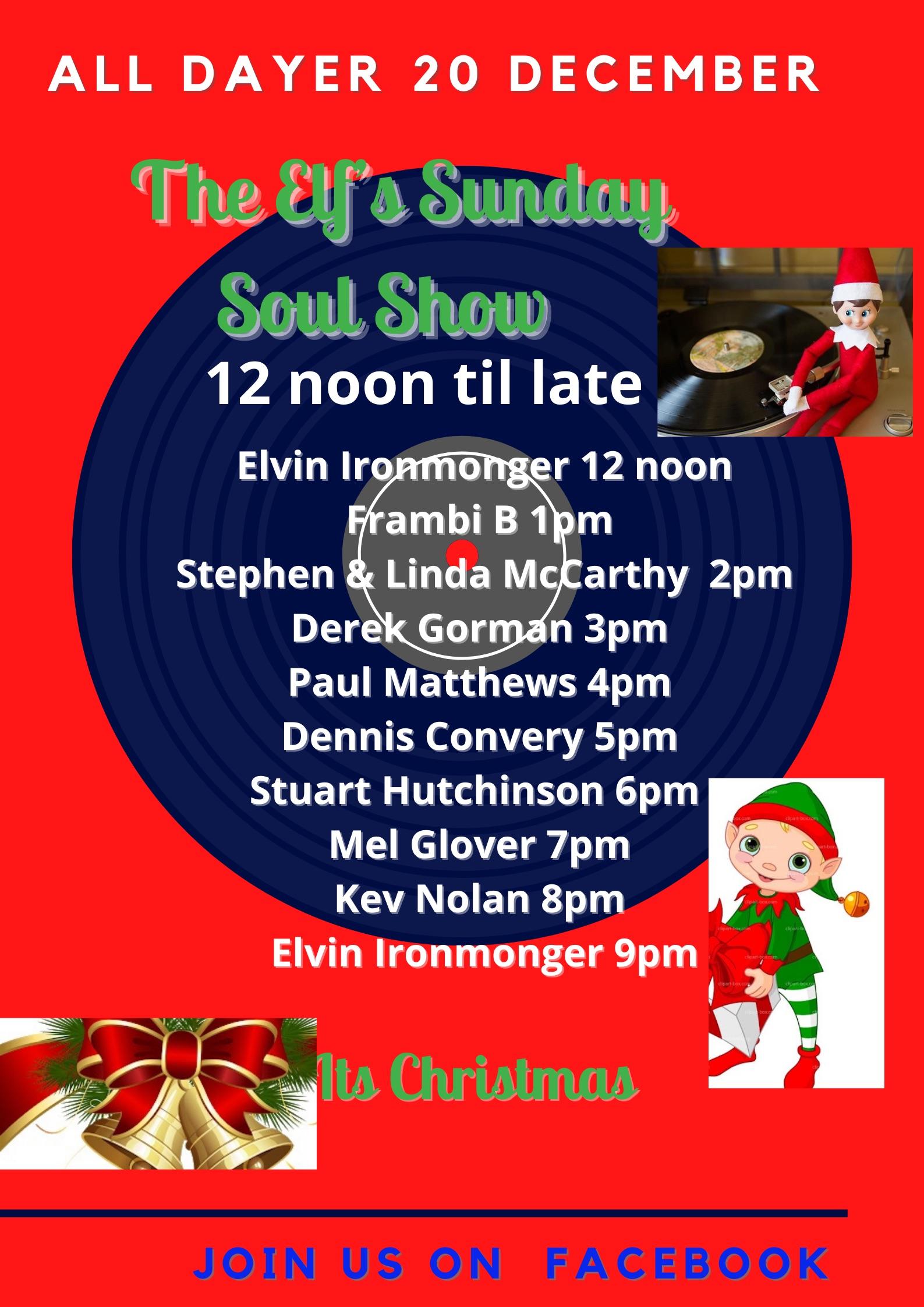 The Elfs Sunday Soul Show flyer