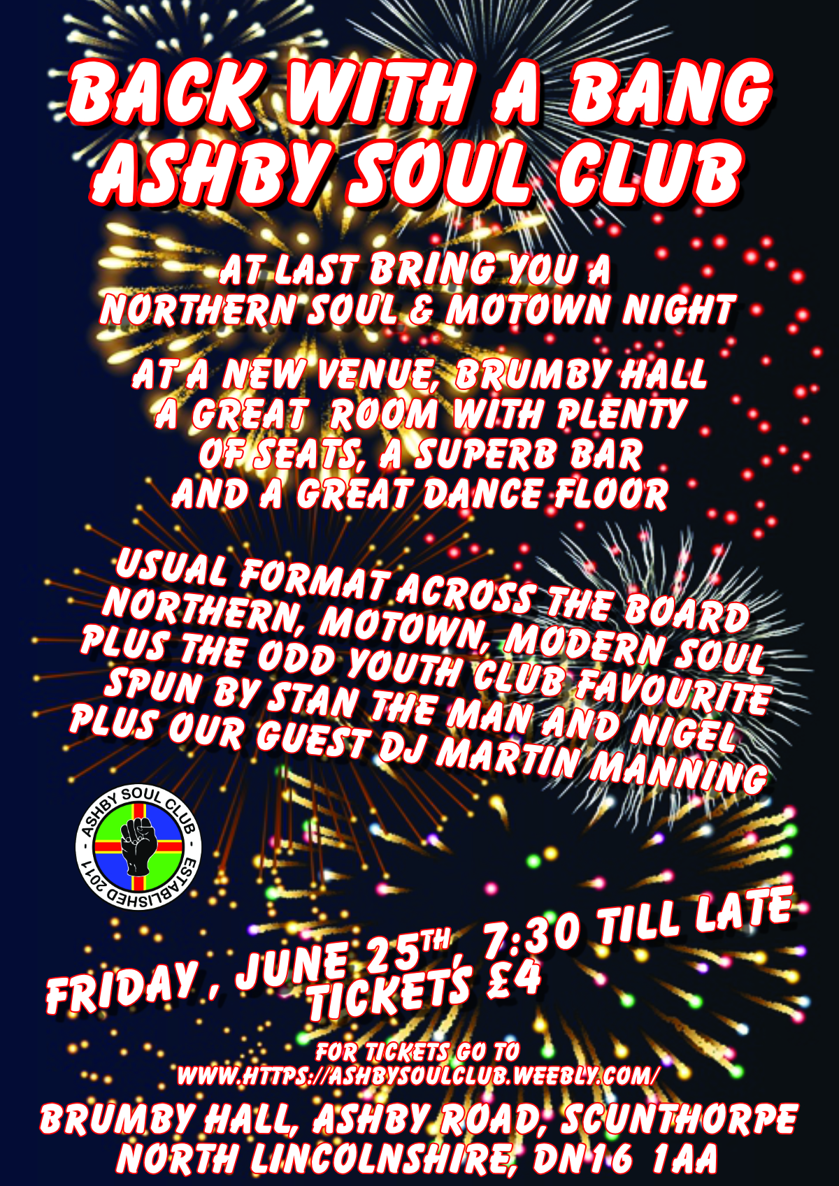 Cancelled  Scunthorpe Northern Soul  Motown Night flyer