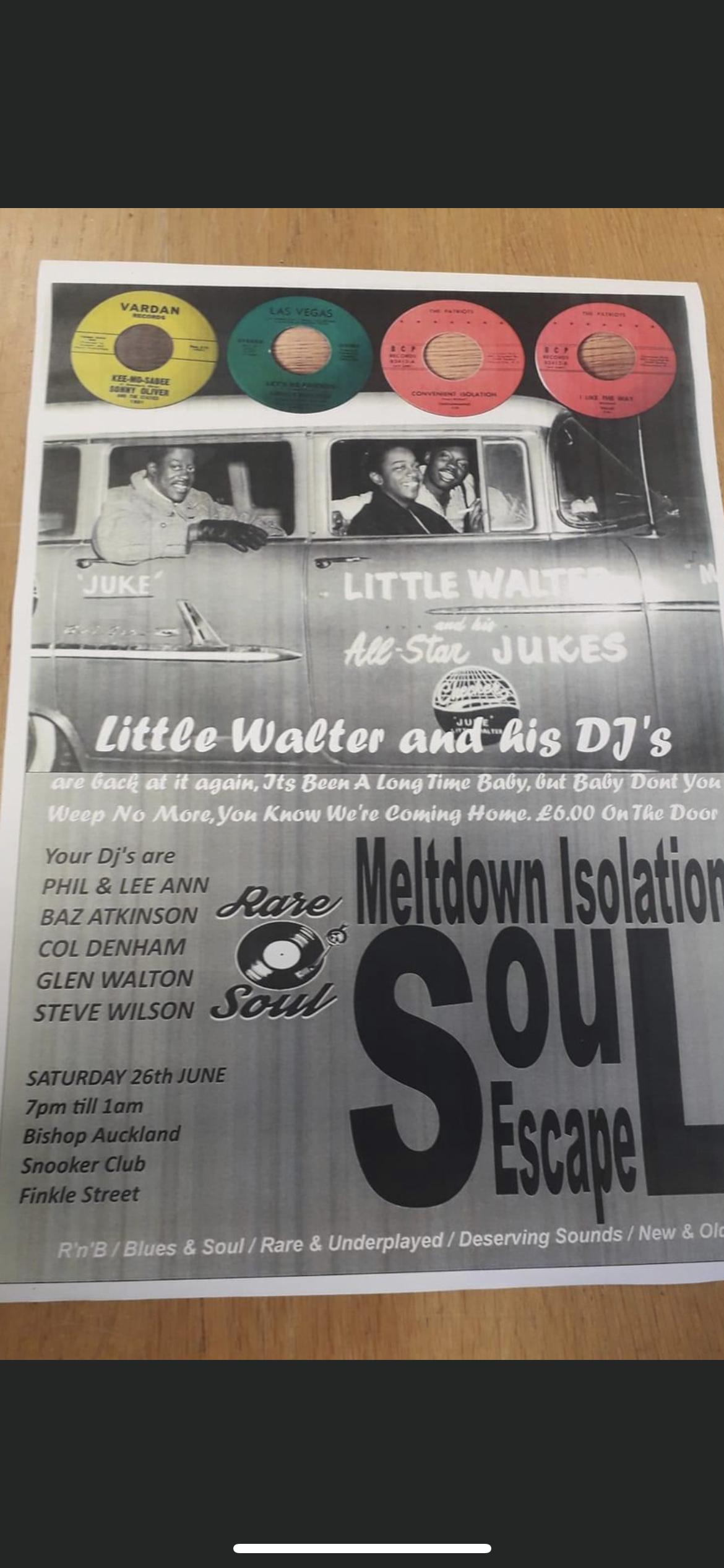 Little Walter  His Djs Bishop Auckland Snooker Club flyer