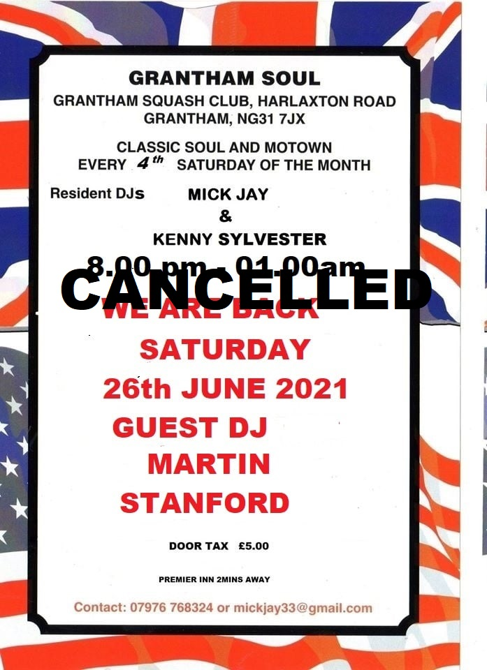 Grantham Soul Cancelled Due To Lockdown flyer