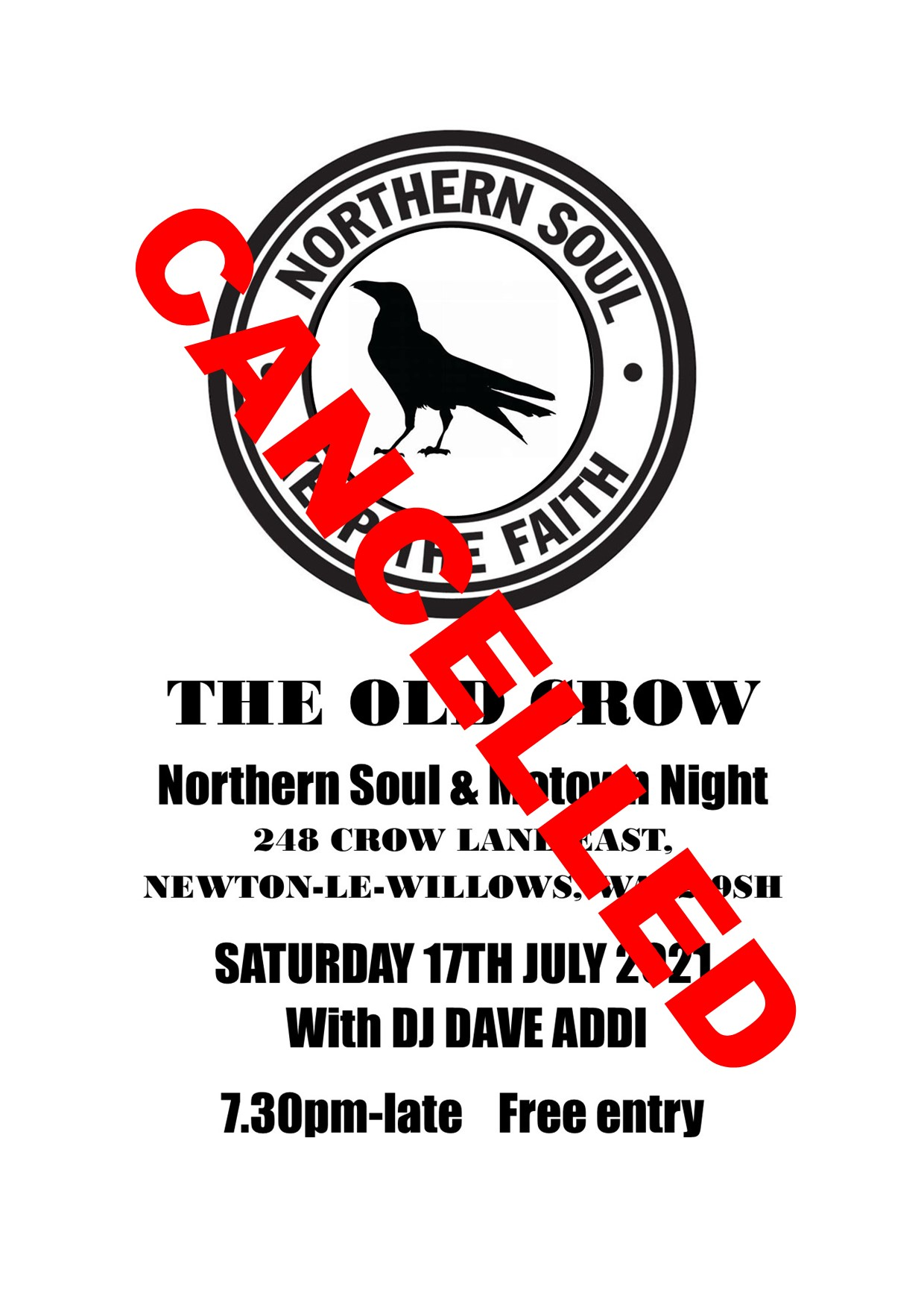 Old Crow Northern Soul  Motown Night Cancelled flyer