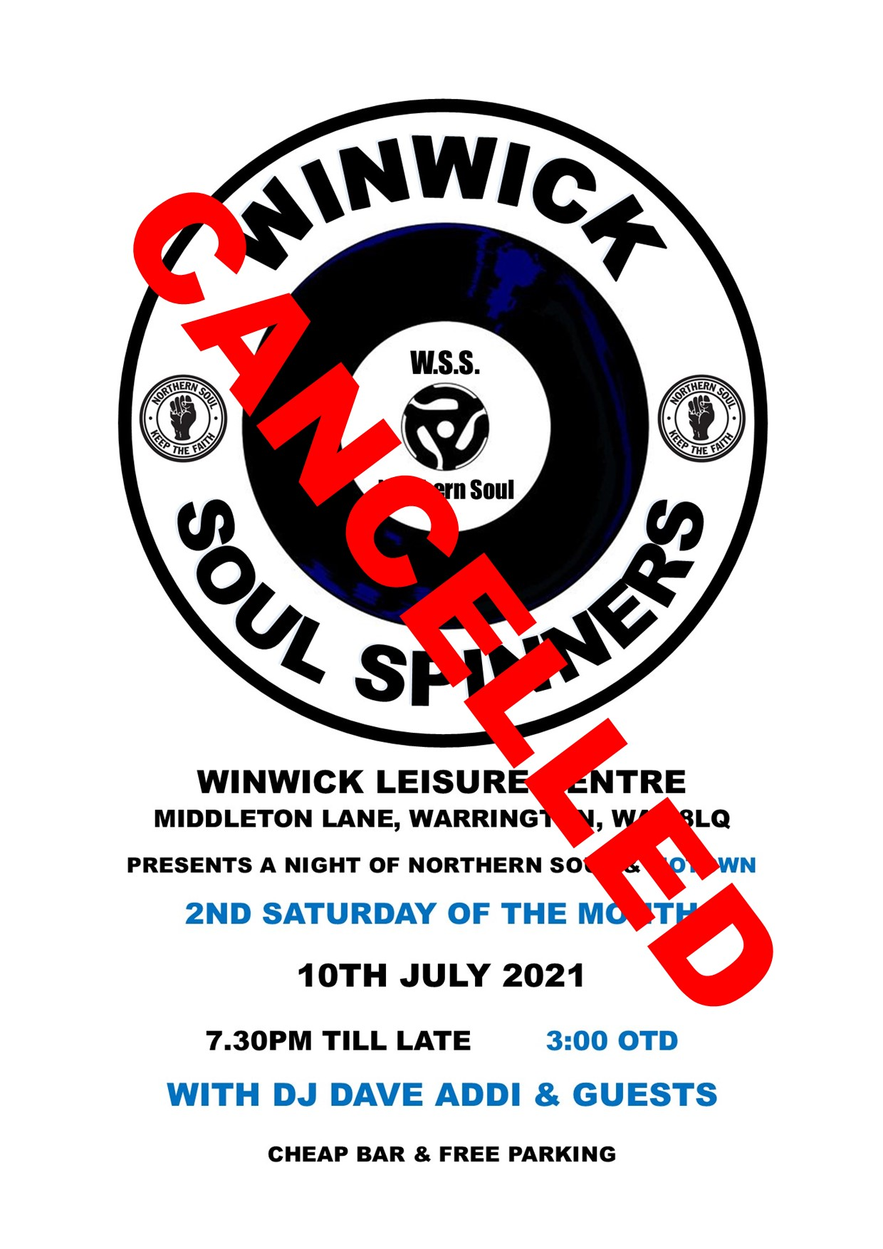 Winwick Soul Spinners Cancelled flyer