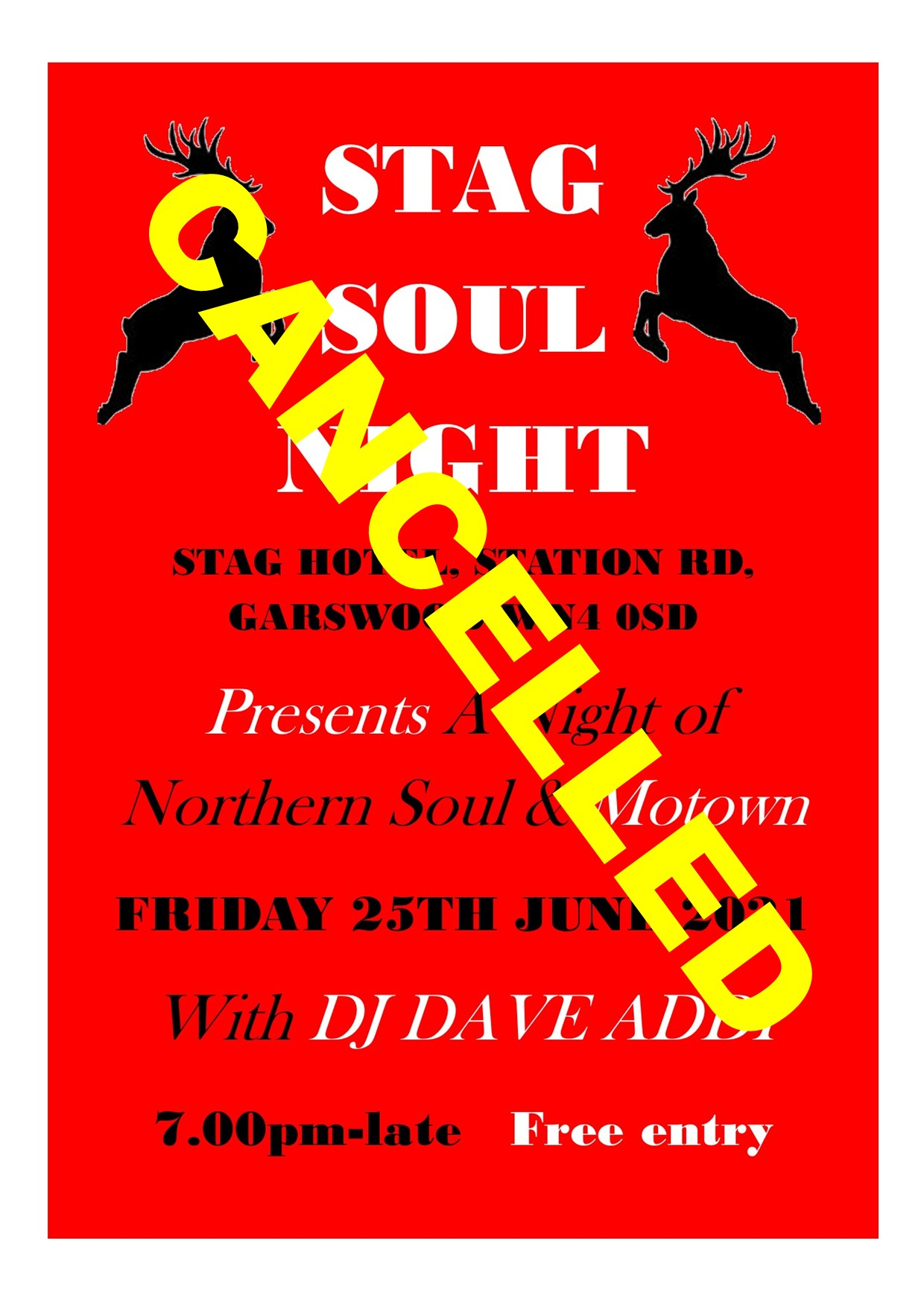 Stag Hotel Soul Night Cancelled flyer