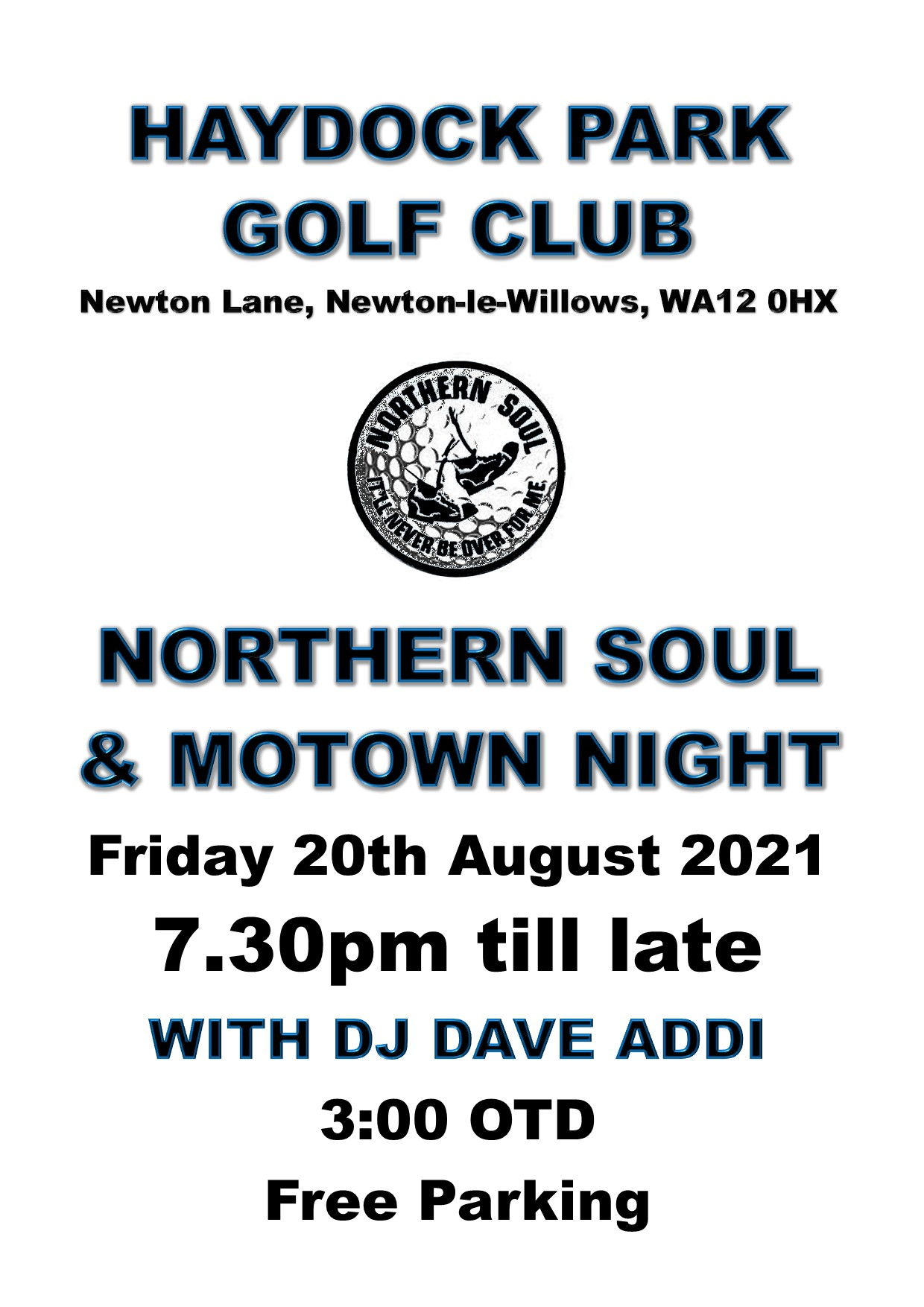 Haydock Park Golf Club Soul Night flyer