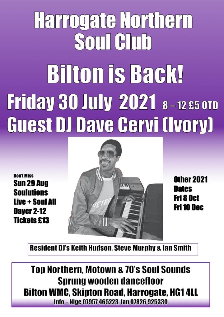 Harrogate Bilton Soul Club Now Friday 30 July flyer