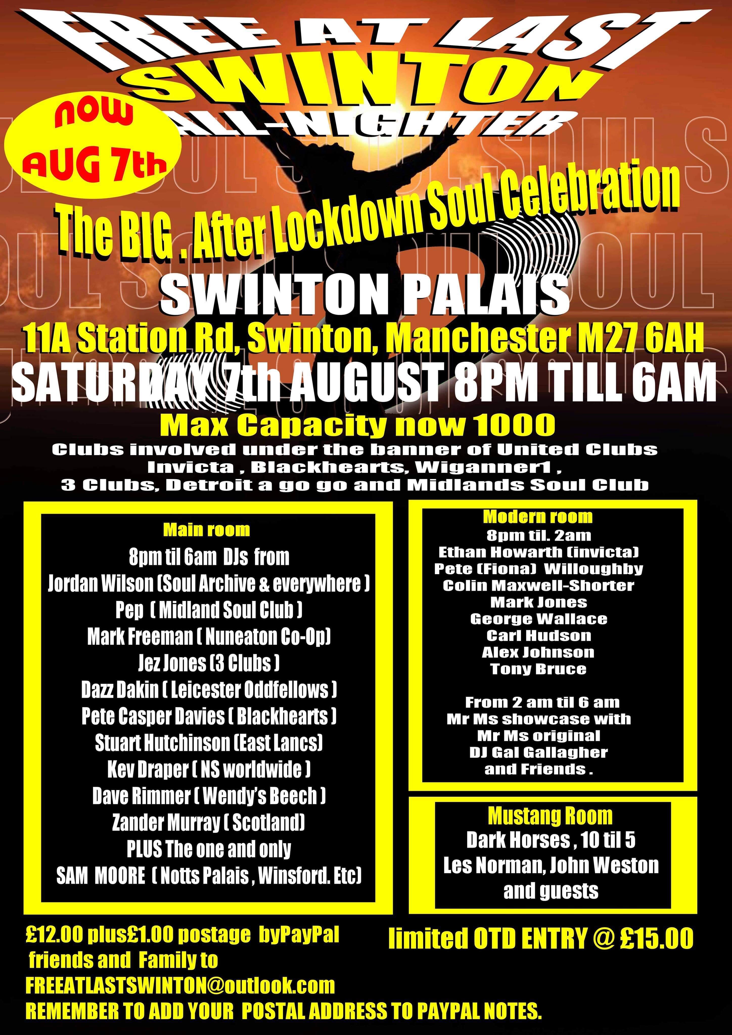 Free At Last All Nighter Swinton flyer