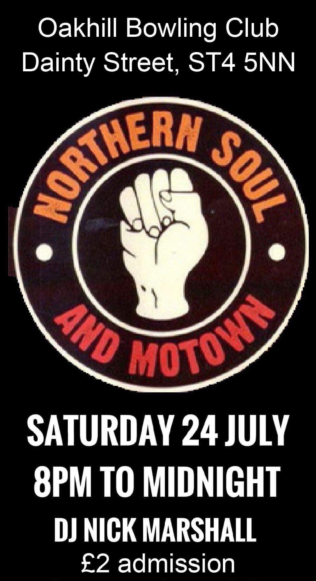 Oakhill Bowling Club Soul And Motown Night flyer