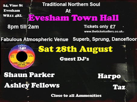 Evesham Town Hall Traditional Northern Soul Night flyer
