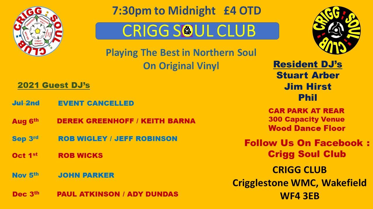 Cancelled  Crigg Soul Club flyer