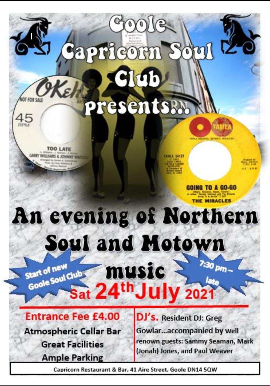 Goole Capricorn Soul Night flyer
