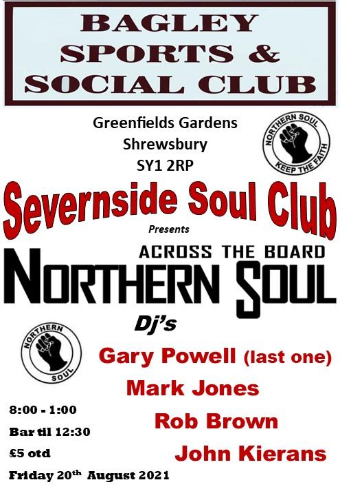 Severnside Soul Night  The Bagley flyer