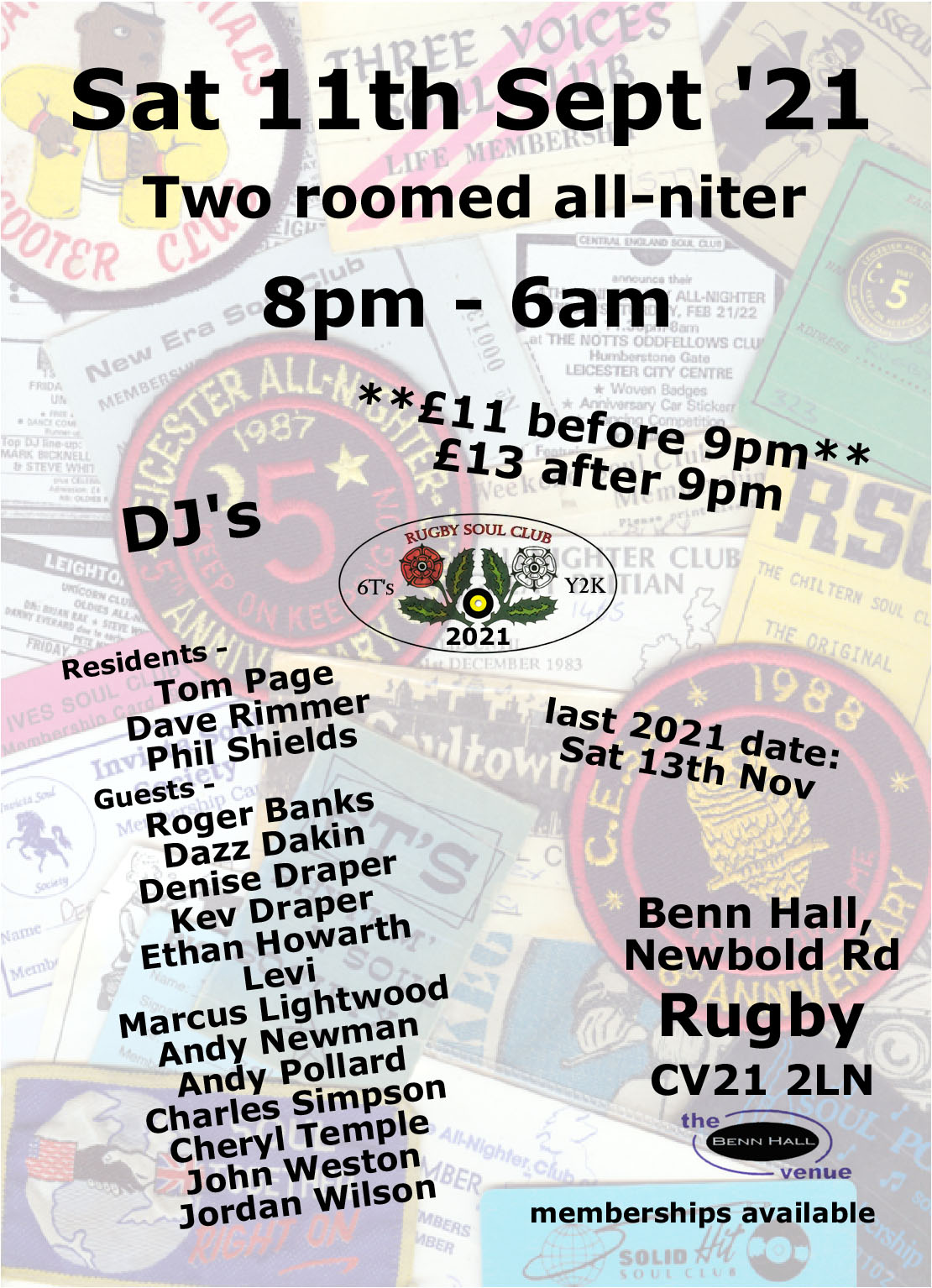 Rugby Soul Club Allniters At The Benn Hall flyer