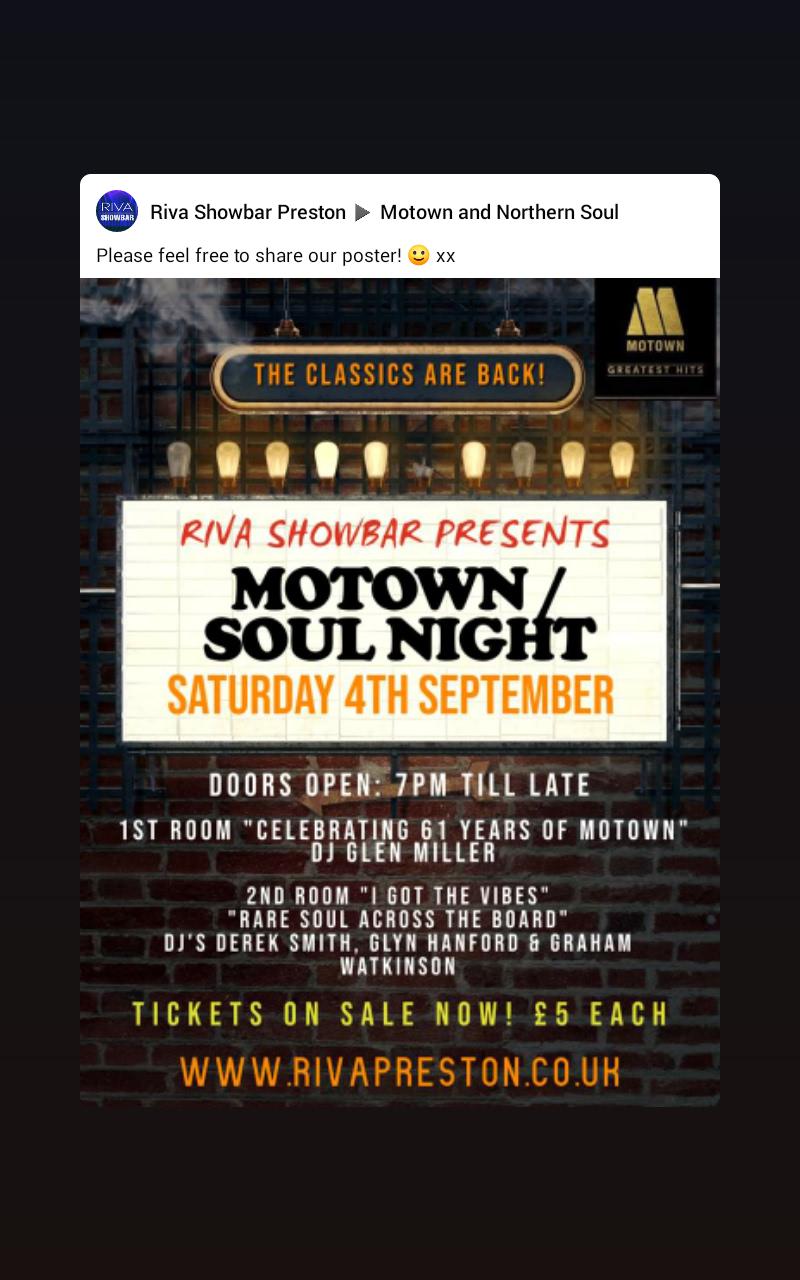 Motown  Soul Night flyer