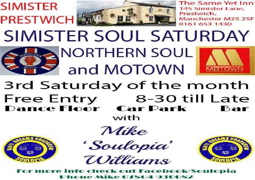 Simister Soul Saturdays flyer