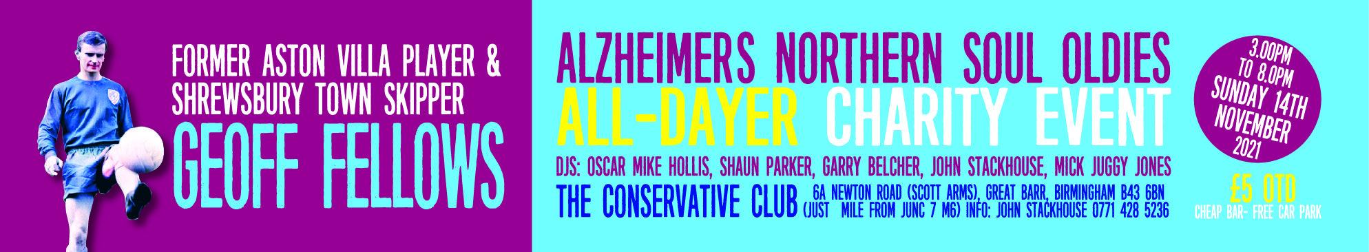 Former Soccer Star Geoff Felows Alzheimers Charity Gig flyer