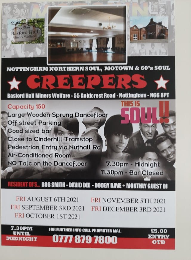 Nottingham Northern Soul And Motown  Creepers  flyer
