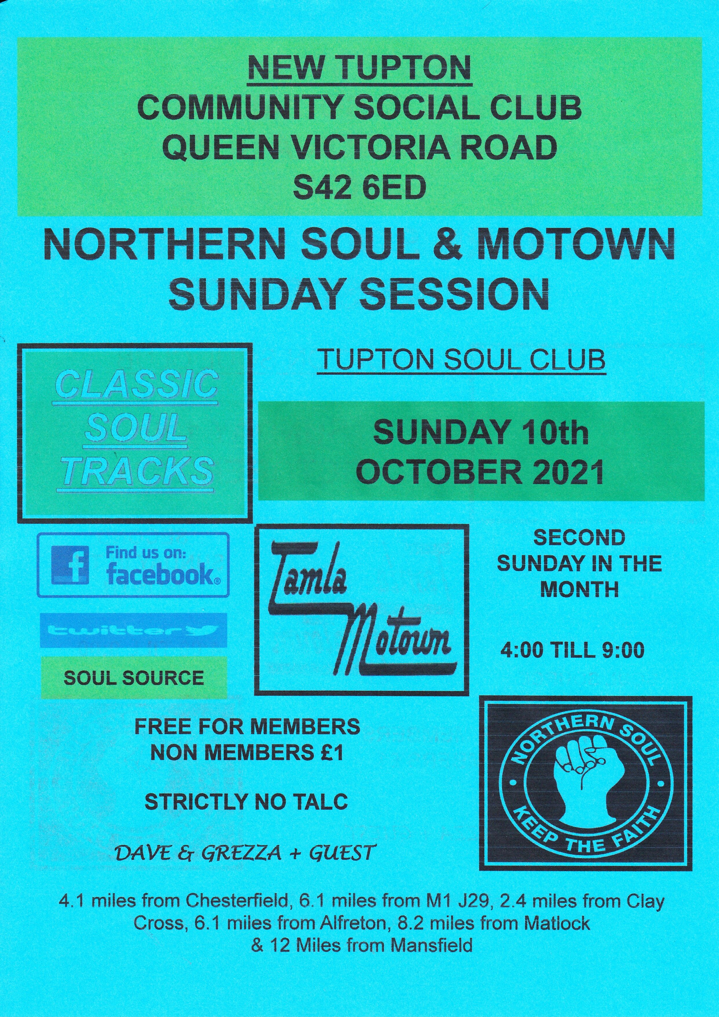 New Tupton Sunday Afternoon Soul  Motown flyer