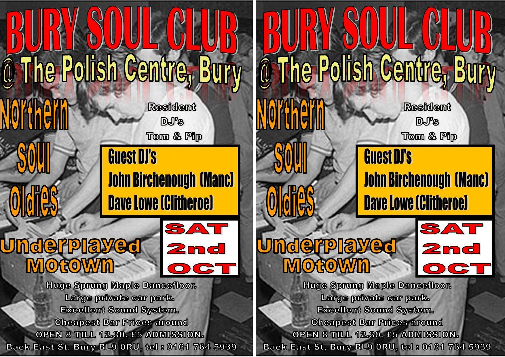 Bury Soul Club  The Polish Centre Bury flyer